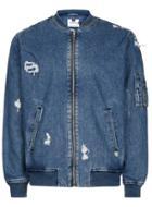 Topman Mens Blue Denim Ma1 Bomber Jacket