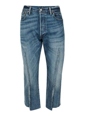 Topman Mens Topman Finds Blue Desconstructed Cropped Jeans