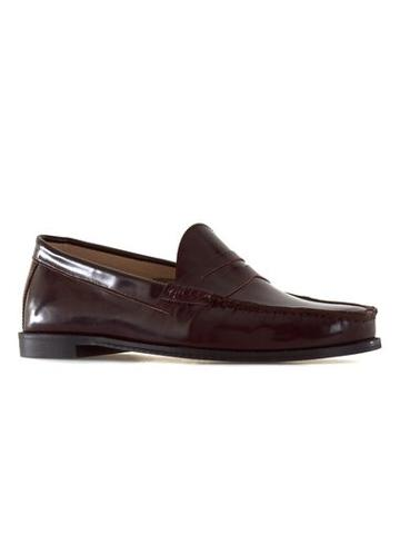 Topman Mens Red Burgundy High Shine Leather Penny Loafers
