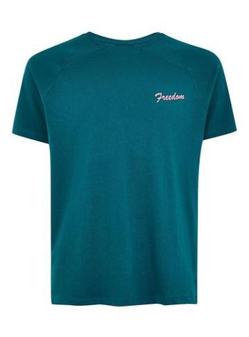 Topman Mens Blue Teal 'freedom' T-shirt