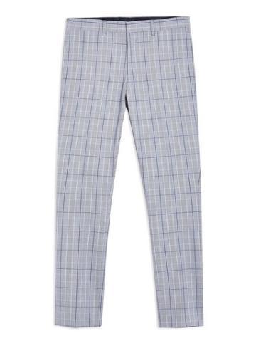 Topman Mens Blue Check Super Skinny Trousers