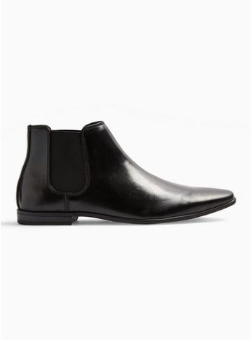 Topman Mens Black Leather 'briar' Chelsea Boots