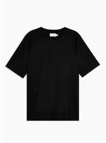 Topman Mens Black Pintuck T-shirt