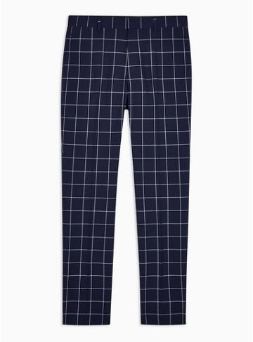 Topman Mens Navy Windowpane Check Skinny Fit Suit Trousers