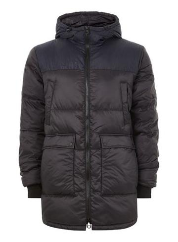 Topman Mens Navy Cut And Sew Puffer Jacket