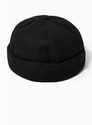 Topman Mens Black Melton Docker Hat