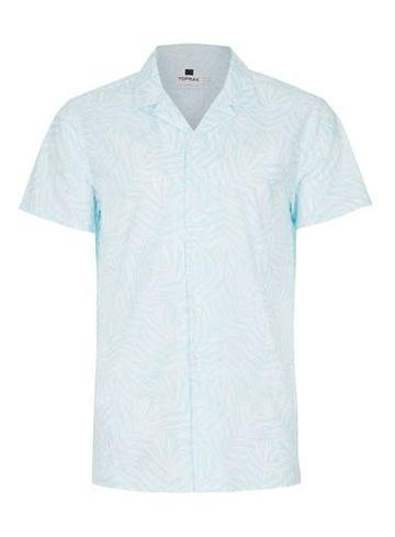 Topman Mens Black Blue Palms Print Short Sleeve Casual Shirt