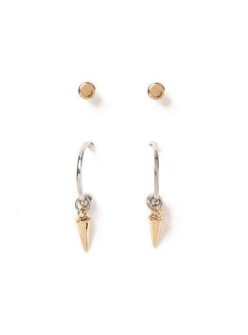 Topman Mens Silver Spike Earrings