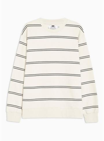 Topman Mens Off White And Black Stripe Sweatshirt