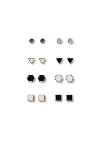 Topman Mens Multi Mixed Metal Assorted Shape Stud Earrings 8 Pack*