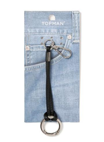 Topman Mens Black Leather Cord Keyring*
