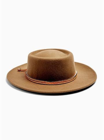 Topman Mens Brown Felt Gambler Wool Hat With Drawcord