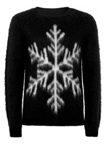 Topman Mens Black Mohair Snowflake Sweater