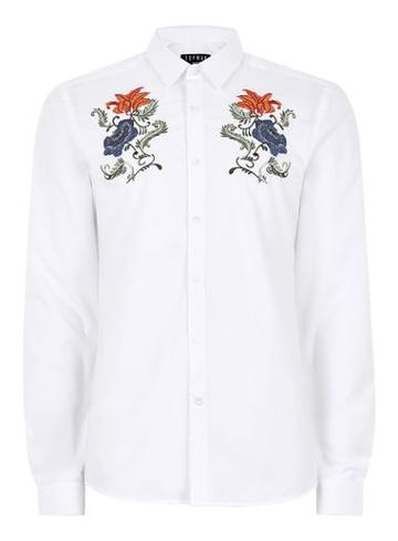 Topman Mens White Floral Embroidered Shirt