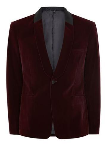 Topman Mens Red Burgundy Velvet Skinny Tuxedo Jacket