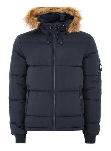 Topman Mens Navy Hooded Puffer Jacket
