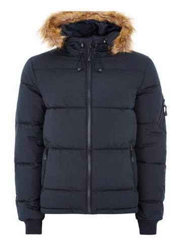 Topman Mens Navy Hooded Puffer Jacket