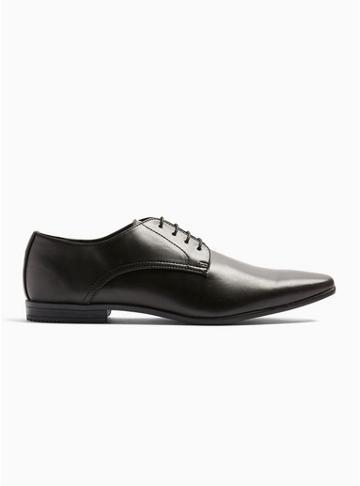 Topman Mens Black Pu Briar Derby Shoes