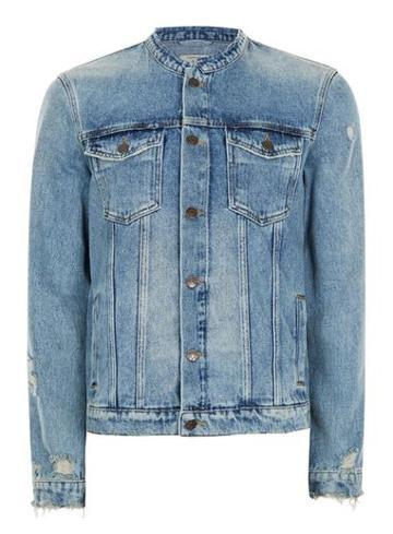 Topman Mens Blue Collarless Denim Jacket
