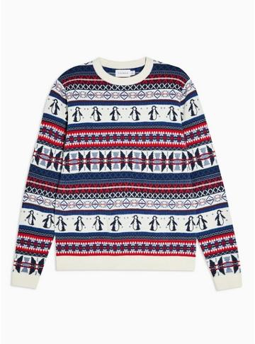 Topman Mens Cream Christmas Penguin Fair Isle Jumper