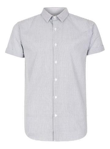 Topman Mens Black And White Grid Short Sleeve Dress Shirt