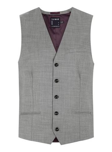 Topman Mens Mid Grey Gray Marl Suit Vest