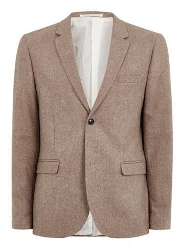Topman Mens Brown Wool Blend Camel Blazer