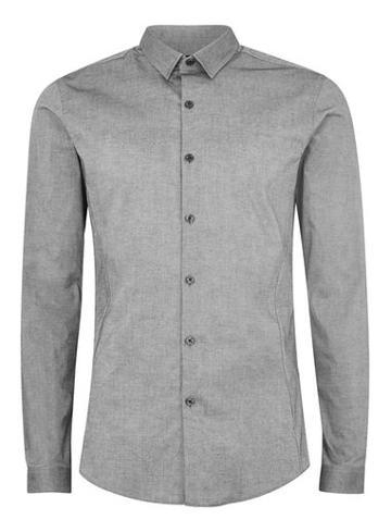 Topman Mens Grey Gray Muscle Fit Shirt