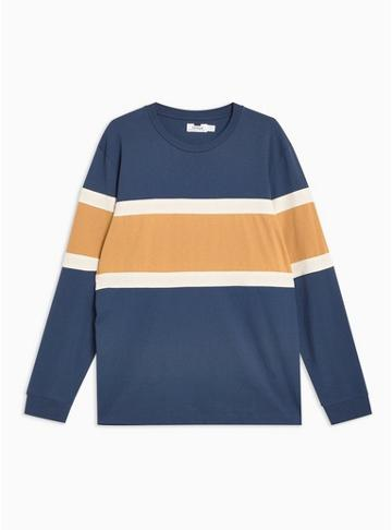 Topman Mens Navy And Yellow Long Sleeve T-shirt