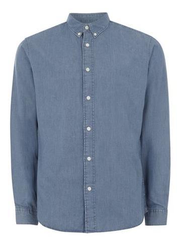 Topman Mens Selected Homme Blue Denim Shirt
