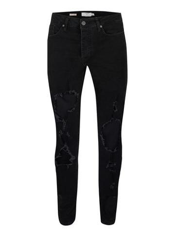 Topman Mens Black Extreme Ripped Stretch Skinny Jeans