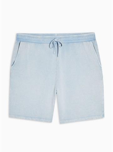 Topman Mens Blue Washed Shorts