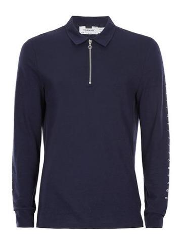 Topman Mens Blue Navy Rite Of Passage Print Zip Polo Neck Long Sleeve T-shirt