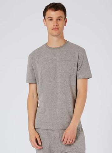 Topman Mens Grey Gray Salt And Pepper Lightweight Pocket T-shirt