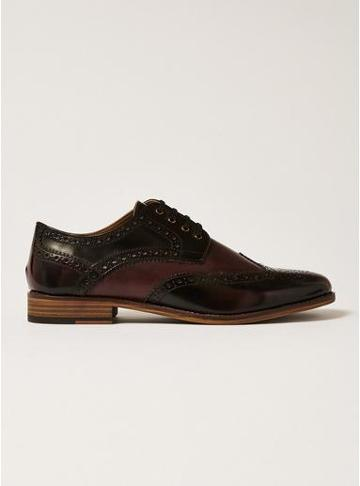 Topman Mens Red Burgundy Leather Hale Brogues