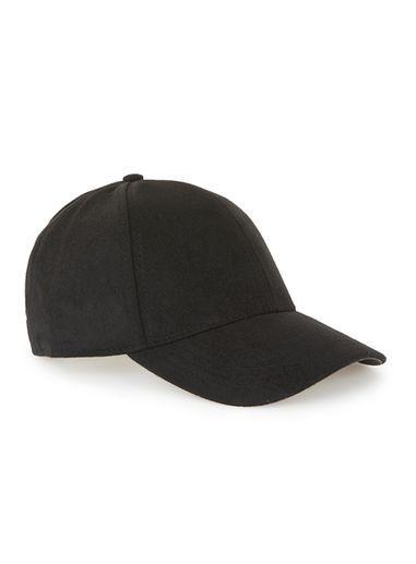 Topman Mens Black Fleece Curved Peak Cap