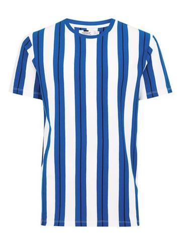 Topman Mens Blue And White Stripe Pique T-shirt