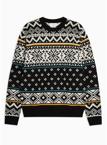 Topman Mens Multi Holiday Alpine Fair Isle Sweater With Wool