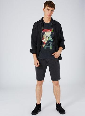 Topman Mens Mid Grey Gray Metallica Print Spliced T-shirt