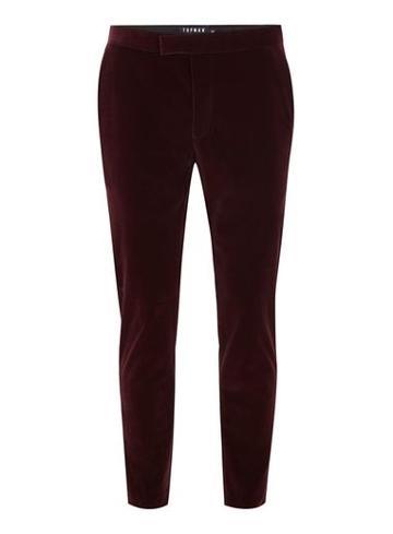 Topman Mens Red Burgundy Velvet Skinny Tux Pants
