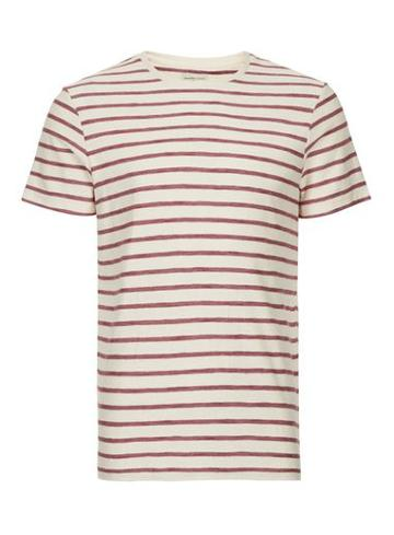 Topman Mens Brown Selected Homme Off White And Red Stripe T-shirt