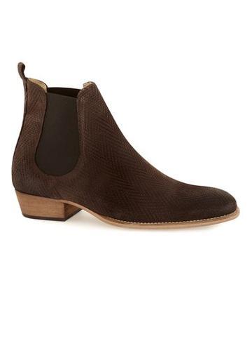 Topman Mens Brown Suede Printed Chelsea Boots