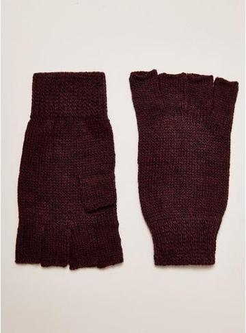 Topman Mens Red Burgudy And Back Fingerless Gloves