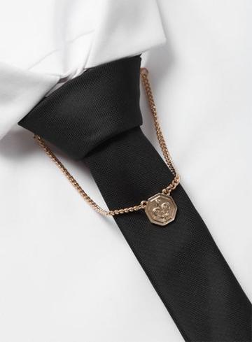 Topman Mens Gold Look Drop Fleur De Lis Collar Tips*