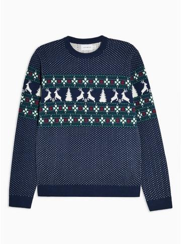 Topman Mens Holiday Navy Yoke Fair Isle Sweater