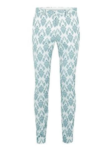 Topman Mens Green Mint Jacquard Ultra Skinny Suit Pants