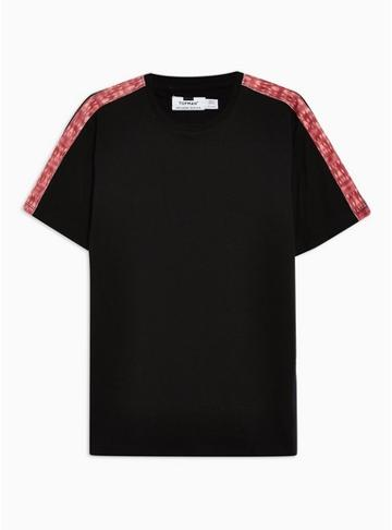 Topman Mens Black And Red Wash Taped T-shirt