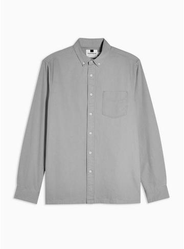 Topman Mens Grey Long Sleeve Twill Shirt