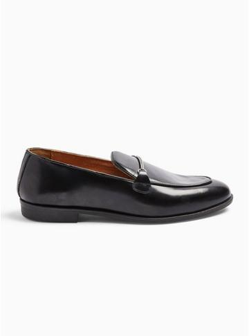 Topman Mens Black Leather Askew Chain Loafers