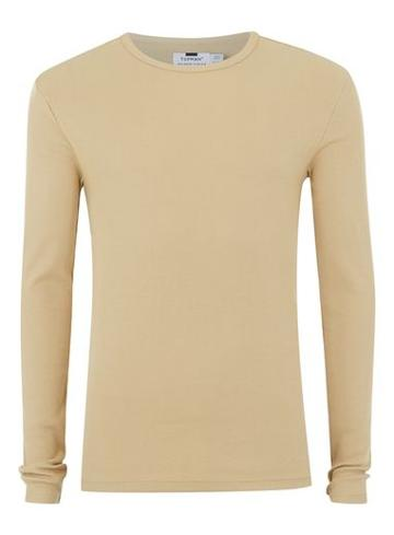 Topman Mens Stone Muscle Fit Ribbed T-shirt